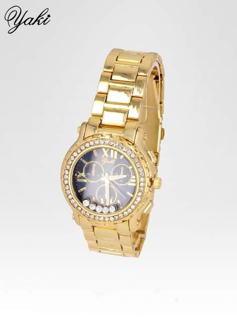 Złoty zegarek damski na bransolecie z cyrkoniami na kopercie                                  zdj.                                  2