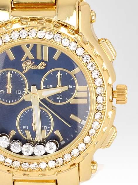 Złoty zegarek damski na bransolecie z cyrkoniami na kopercie                                  zdj.                                  6