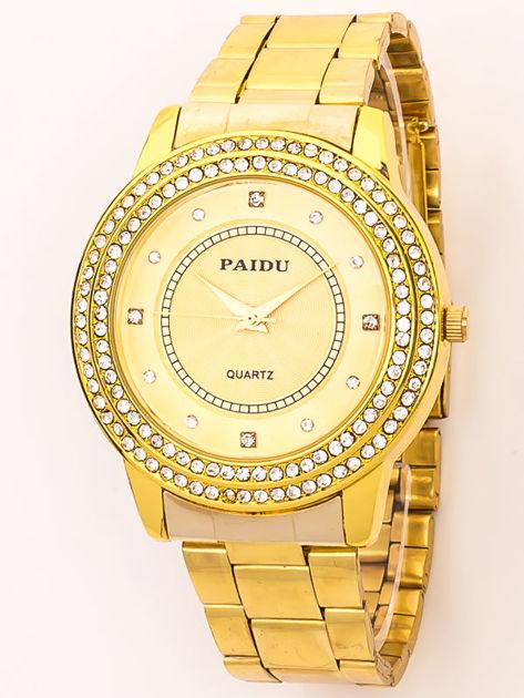 Złoty zegarek damski na bransolecie z cyrkoniami na tarczy