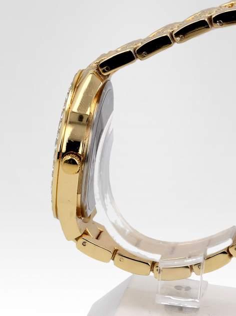 Złoty zegarek damski na bransolecie z cyrkoniową kopertą                                  zdj.                                  3
