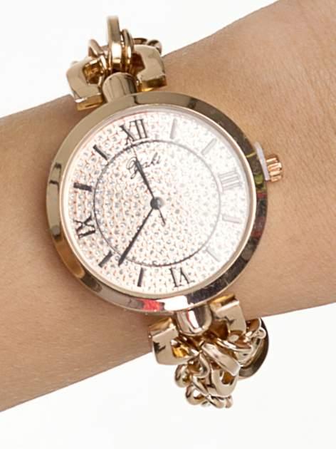 Złoty zegarek damski na bransolecie z dużą cyrkoniową tarczą                                  zdj.                                  1