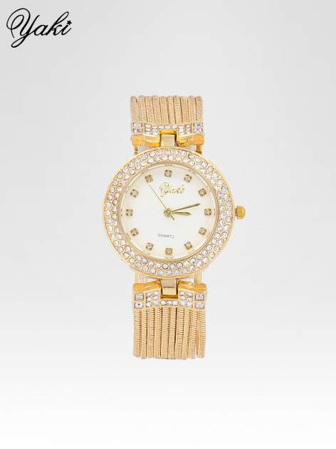 Złoty zegarek damski na bransolecie z łańcuszków z białą tarczą