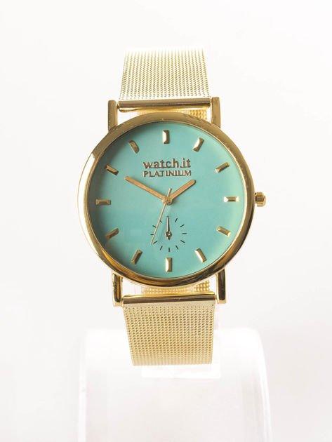 Złoty zegarek damski na bransolecie z miętową tarczą                              zdj.                              1