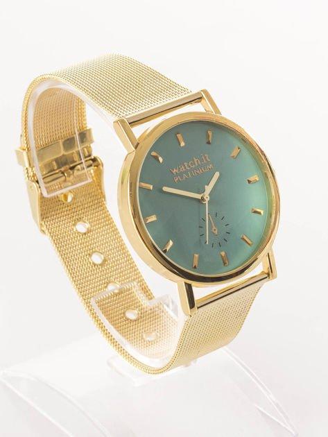 Złoty zegarek damski na bransolecie z miętową tarczą                              zdj.                              2