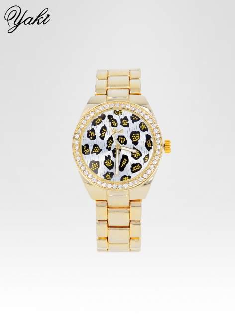 Złoty zegarek damski na bransolecie z panterkową tarczą                                  zdj.                                  1