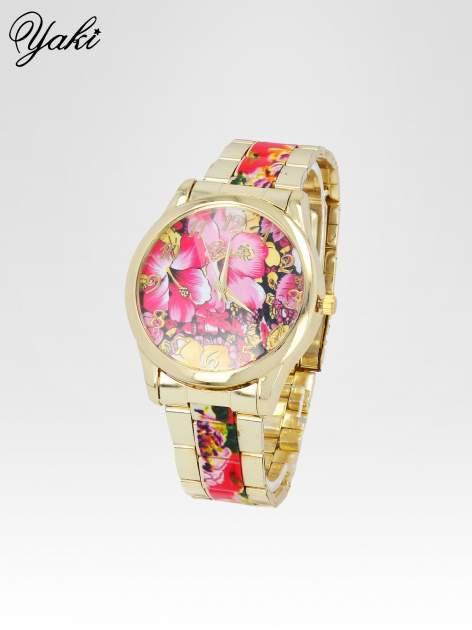 Złoty zegarek damski na bransolecie z różowym motywem kwiatowym                                  zdj.                                  2