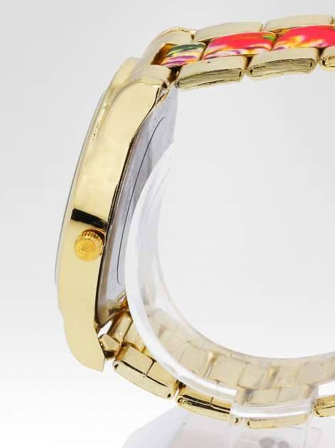Złoty zegarek damski na bransolecie z różowym motywem kwiatowym                                  zdj.                                  3