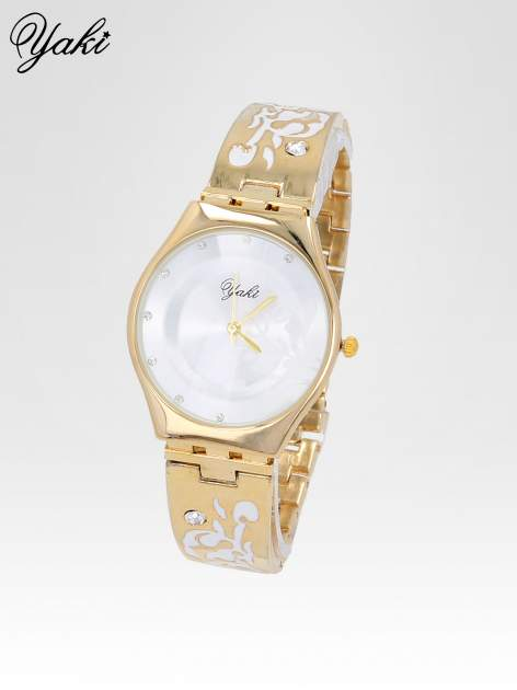 Złoty zegarek damski na bransolecie z subtelnym zdobieniem                                  zdj.                                  2