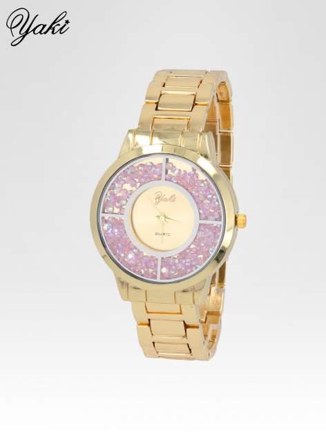 Złoty zegarek damski na bransolecie z tarczą glitter                                  zdj.                                  2