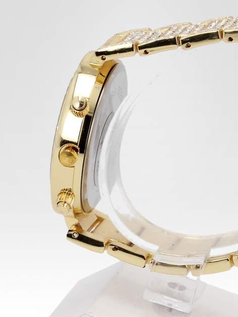 Złoty zegarek damski na bransolecie zdobiny cyrkoniami                                  zdj.                                  3