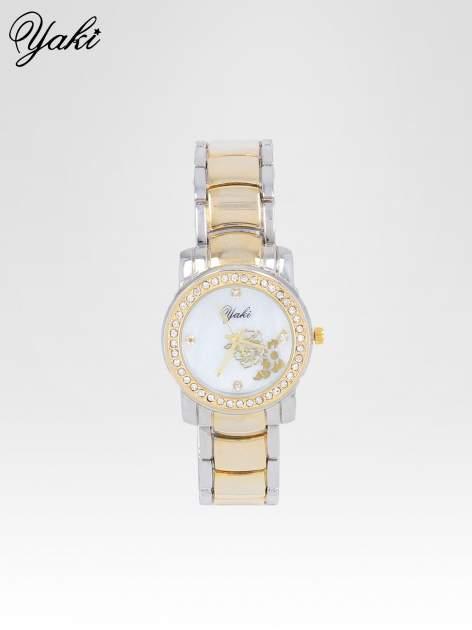Złoty zegarek damski z grawerem kwiatów                                  zdj.                                  1