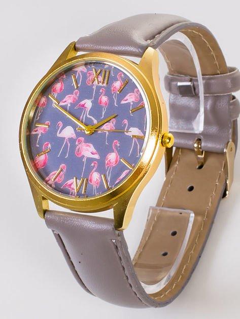 Złoty zegarek damski z tarczą z FLAMINGAMI                               zdj.                              2