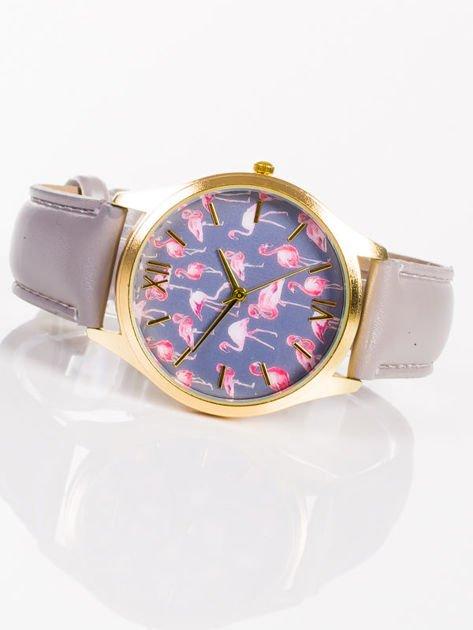 Złoty zegarek damski z tarczą z FLAMINGAMI                                   zdj.                                  3