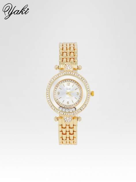 Złoty zegarek na bransolecie z cyrkoniowym serduszkiem                                  zdj.                                  1