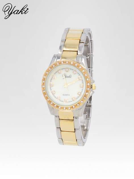 Złoty zegarek z cyrkoniami wokół koperty i tarczy                                  zdj.                                  2