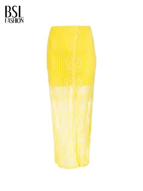 Żółta ażurowa spódnica maxi z rozporkiem