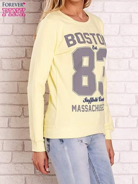 Żółta bluza z napisem BOSTON 83                                  zdj.                                  3