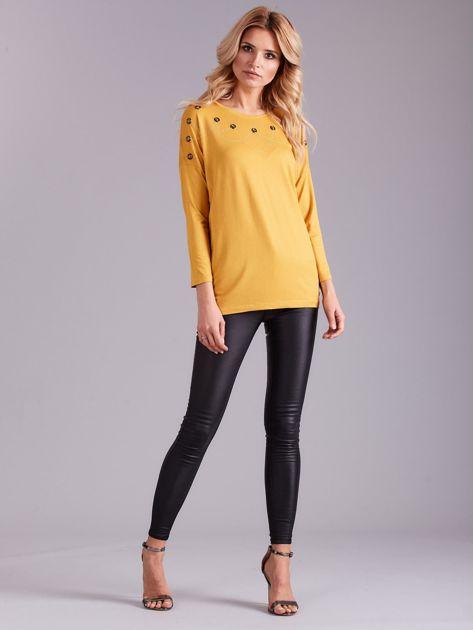Żółta bluzka damska z aplikacją                              zdj.                              4