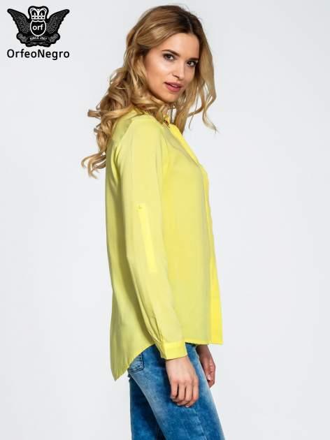 Żółta bluzka koszulowa z biżuteryjnym kołnierzykiem                                  zdj.                                  3