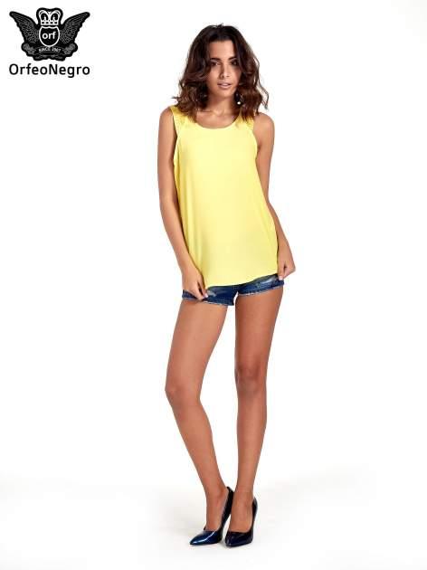 Żółta bluzka koszulowa z koralikami przy ramionach                                  zdj.                                  5