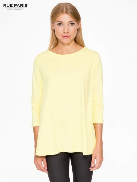 Żółta bluzka o rozkloszowanym kroju z rękawem 3/4                                  zdj.                                  1