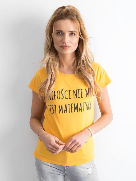 Żółta damska koszulka z napisem                              zdj.                              1
