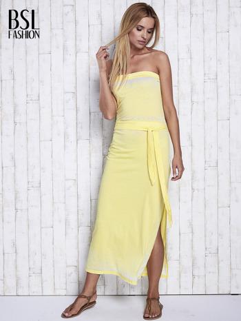 Żółta dekatyzowana sukienka maxi na gumkę                                  zdj.                                  4