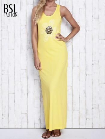 Żółta dekatyzowana sukienka maxi z cekinowym kwiatem                                  zdj.                                  1