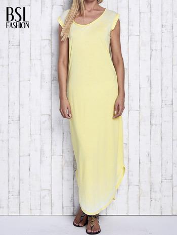 Żółta długa sukienka acid wash                                   zdj.                                  1