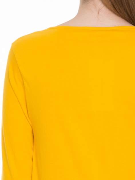 Żółta gładka bluzka z rękawem 3/4                                  zdj.                                  4