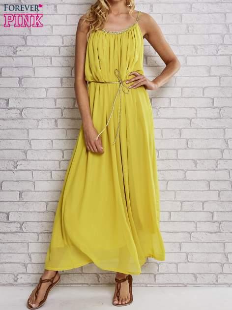 Żółta grecka sukienka maxi ze złotym paskiem                                  zdj.                                  1