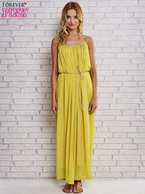 Żółta grecka sukienka maxi ze złotym paskiem                                  zdj.                                  2