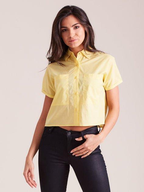 Żółta koszula cropped z kołnierzykiem i kieszeniami                                  zdj.                                  5
