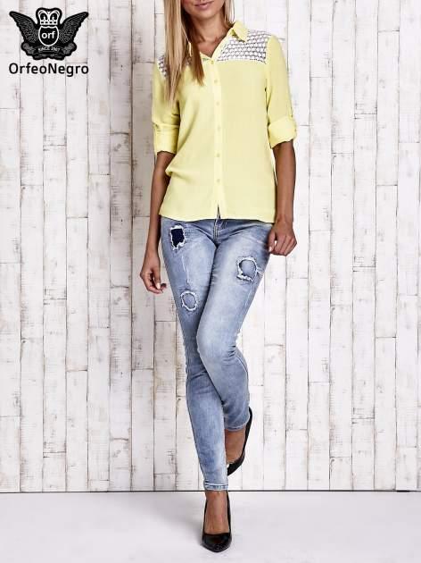 Żółta koszula damska z koronkową górą                                  zdj.                                  8