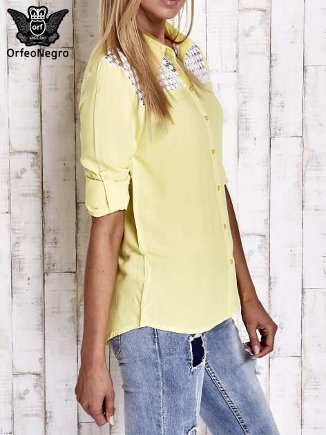 Żółta koszula damska z koronkową górą                                  zdj.                                  3