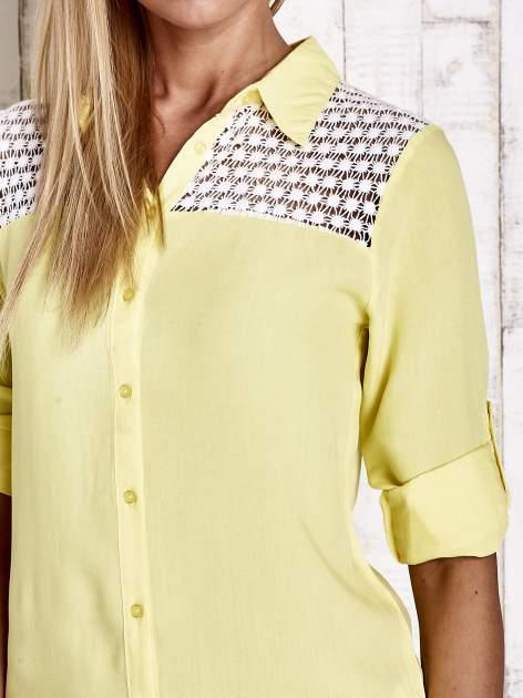 Żółta koszula damska z koronkową górą                                  zdj.                                  6