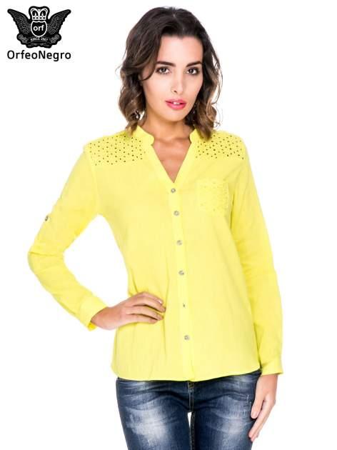 Żółta koszula z ażurowaniem na górze i kieszonką                                  zdj.                                  1