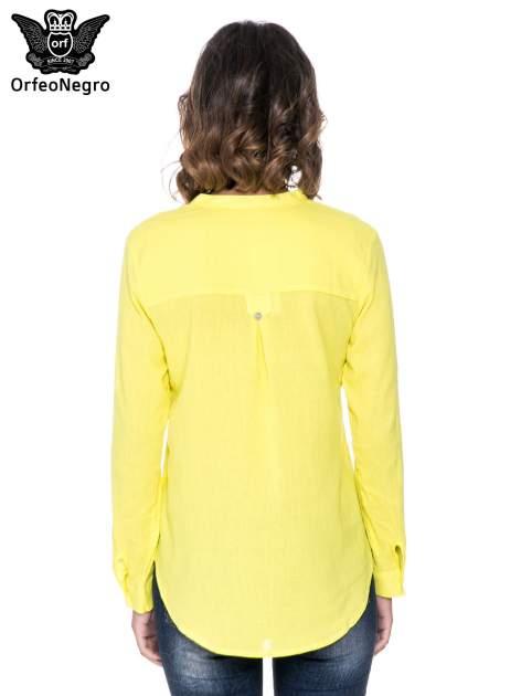 Żółta koszula z ażurowaniem na górze i kieszonką                                  zdj.                                  4