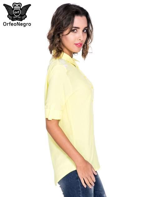Żółta koszula z haftem na ramionach i plecach                                  zdj.                                  3