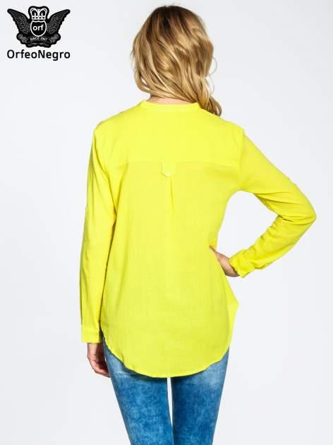 Żółta koszula z haftem w azteckie wzory                                  zdj.                                  3
