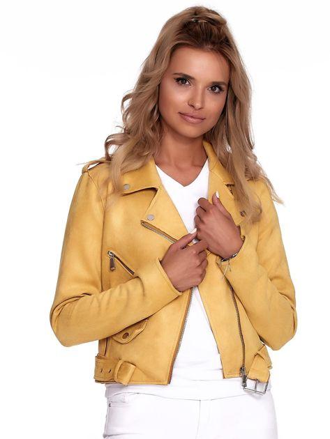 Żółta kurtka ramoneska z suwakami                              zdj.                              1