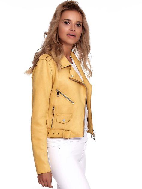Żółta kurtka ramoneska z suwakami                              zdj.                              3