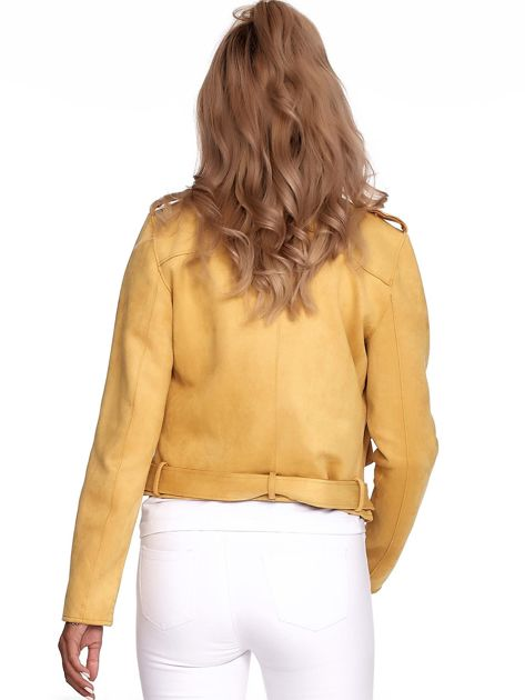 Żółta kurtka ramoneska z suwakami                              zdj.                              2