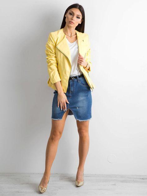 Żółta kurtka ze skóry ekologicznej                              zdj.                              4