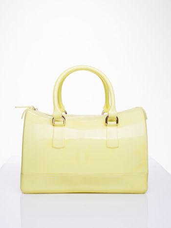 Żółta lakierowana torba kuferek bowling