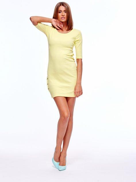 Żółta prążkowana sukienka z kółeczkami                               zdj.                              4