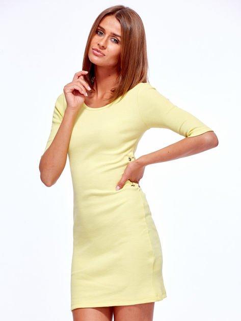 Żółta prążkowana sukienka z kółeczkami                               zdj.                              6