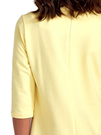 Żółta prosta sukienka z kieszeniami                                   zdj.                                  7