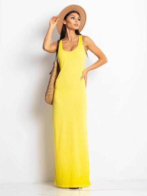 Żółta sukienka maxi z efektem sprania                                  zdj.                                  1
