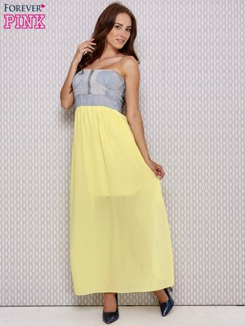 Żółta sukienka maxi z gorsetem z denimu                                  zdj.                                  4